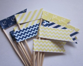 Nautical / Navy and Yellow / Anchor / Party Picks / Food Picks / Cupcake Toppers / set of 24