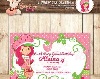 Strawberry Shortcake Birthday Invitation - Custom Digital Invitation 4x6-Strawberry Invite, Strawberry Shortcake, Strawberry Party,Shortcake