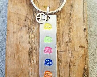 Hand stamped hippie bus keychain. Hippie chick gift. Hippie van stamp. Colorful keychain Stocking stuffer. Bright bus keychain. Rainbow gift