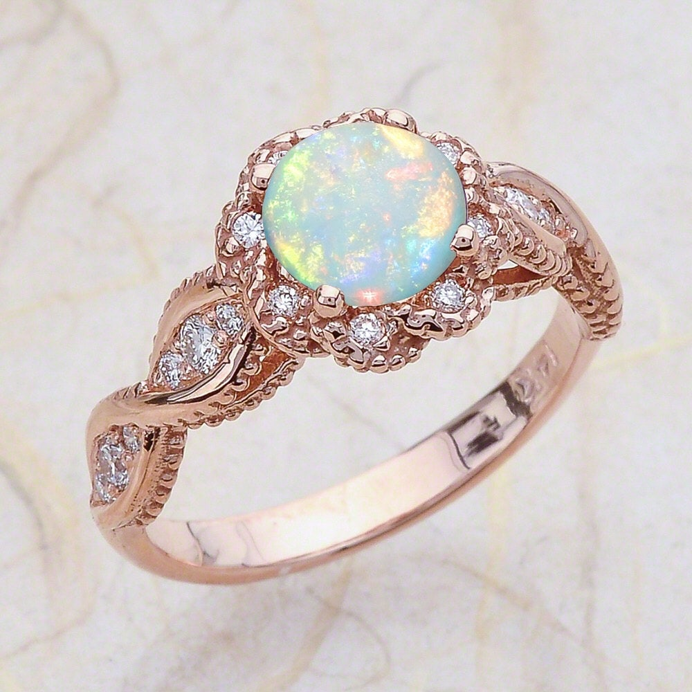 14K Vintage Rose Gold Engagement Ring Center Is A Round Opal