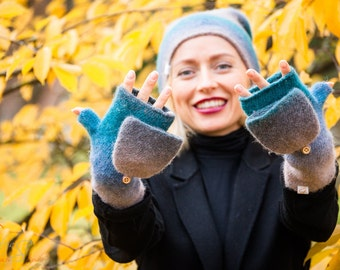 Convertible rainbow felted mittens, Knit felted fingerless mittens, Rainbow knitted mittens, Felted wrist warmers, Wool convertible mittens