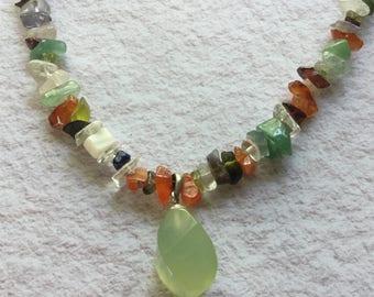 Phrenite and multi gem necklace