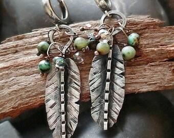 FEATHER EARRINGS • Turquoise earrings • sterling silver • leaf earrings • boho earrings • everyday earrings • summer earrings