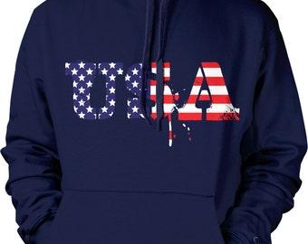 USA, Red White Blue, US Flag, American Pride, Stars and Stripes Hooded Sweatshirt, NOFO_00196