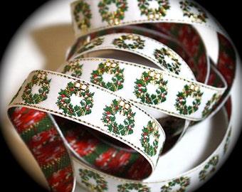 "Ribbon Woven  - 5/8"" x 3 yards  Christmas Wreath Woven Jacquard Ribbon - Metallic"