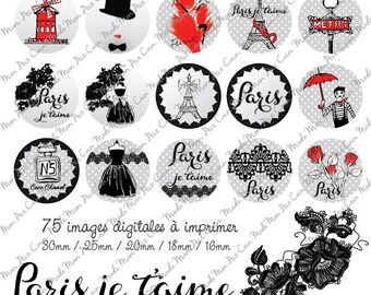 """Digital images for cabochons """"PARIS I love you"""" (75 images) to cut and stick on your creations"""