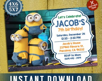 Minions Invites Etsy - Minions birthday invitation template