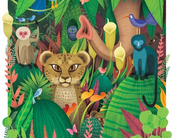 Jungle! Lithograph poster print by Adam Fisher