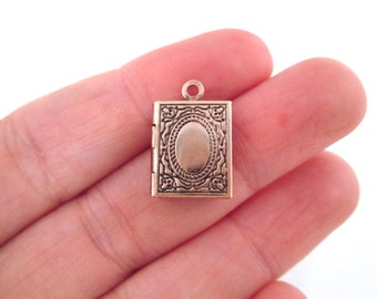 Mini copper book locket charms, 11x14mm, pick your amount, D193