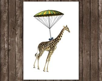 Giraffe with parachute - Poster A4 Print