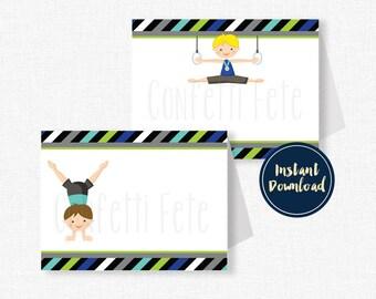 Gymnastics Food Labels, Buffet Cards, Gymnastics Table Place Cards, Boy Gymnastics Party Decorations, Printable Food Labels INSTANT DOWNLOAD