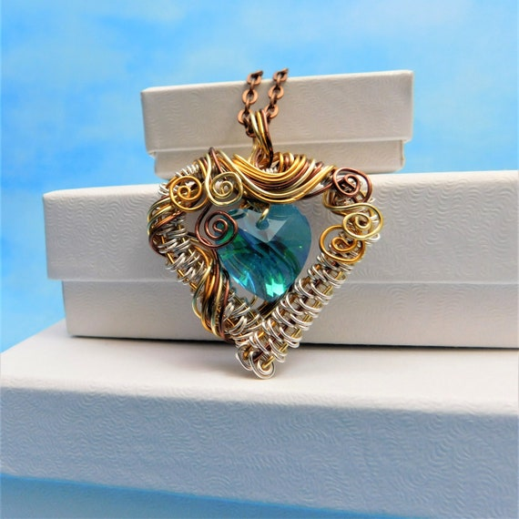 Blue Heart Necklace Unique Artisan Crafted Woven Wire Wrapped Jewelry Copper & Crystal Artistic Pendant Wearable Art Present Ideas for Women