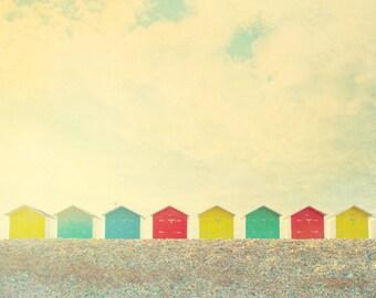 Beach photograph, beach cabins, English seaside, Eastbourne Sussex, seafront, beach scene, seascape, England, seaside, nautical decor
