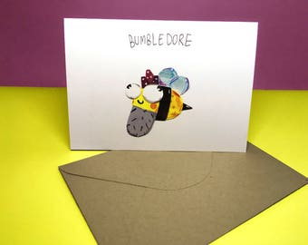 Bumbledore - Harry Potter Dumbledore Bumblebee - A6 Greetings Card - Illustration - Happy Birthday - Thank You - Congratulations - Humour