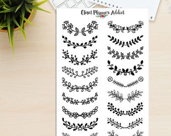 Floral Doodles Planner Stickers | Doodles Stickers | Floral Stickers | Borders Stickers | Frame Stickers | Banner Stickers (S-302)