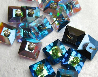 Vintage Swarovski Square Sew On Stones Art 3400 10mm Square Sew Ons, Rhinestones Headpins Crystal Sew Ons