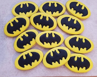 one dozen Batman Logo Cookies