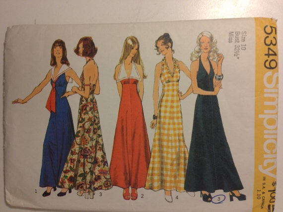 Simplicity 70s Sewing Pattern 5349 Misses Halter Dress Size 10 Sale