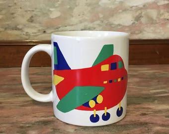 Vintage Mug AIRPLANE 1980s Graphic Primary Color Childrens