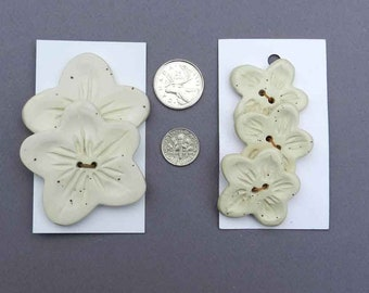 Set of Cream Flower Shaped  Buttons, Medium or Large