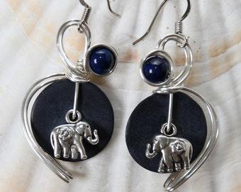 Elephant Earrings, Elephant Jewelry, Animal Earrings, Navy Blue Earrings, Navy Earrings, Navy Jewelry, Wirewrapped, Dark Blue Earrings