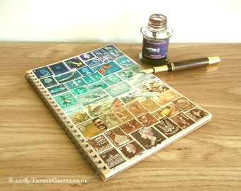Turquoise Brown A5 Travel Planner • Original Art Journal, Upcycled Vintage Postage Stamp Art Cover •  Unique World Travel Gift for Student