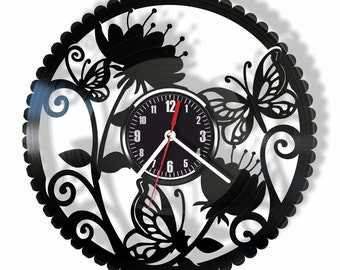 Butterfly silent wall clock made from real vinyl record GIFT for your friends and relatives for any occasion home decor