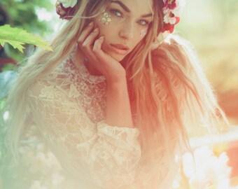 Rosa Blumenkrone, Blumengirlande gemischt, Lana Del Ray, Hochzeit Kopfschmuck, Natur inspiriert, Jahrgang inspiriert, rustikale Rose, Liebe.