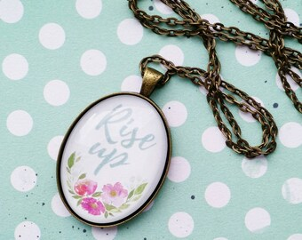 Rise Up Watercolor Floral Glass Dome Pendant Necklace - Pink Purple Hand Painted Flower Jewelry - Gift for Her - Hamilton Musical Pendant