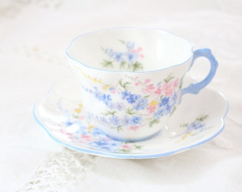 English Fine Bone China Rosina Tea Cup & Saucer Tea Party Larkspur Pattern