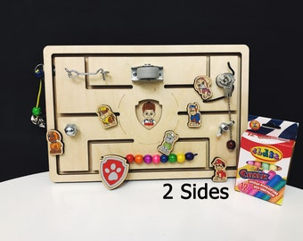 Wooden Toy - Busy Board- Paw Patrol - Sensory Toy - Montessori Toddler - Sensory Toy - Wood toy - Present for Toddler - Toy for Travel