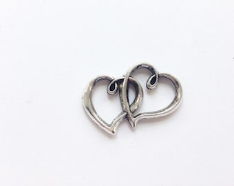 Silver double heart connector 32x25mm