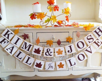 Fall wedding, Personalised wedding banner, fall in love banner, fall engagement, photo prop