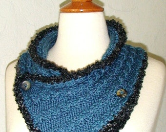 Neck Warmer/ Cowl/ Scarflette Cabled Smokie Blue