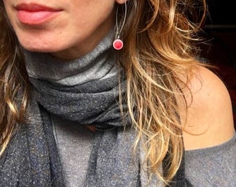 Small Circle Earrings, Valentine's Red, Hypoallergenic Titanium, Lightweight Dangle