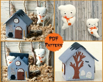 Pdf pattern. Ghost house. Softie Pattern, Soft felt Toy Pattern.