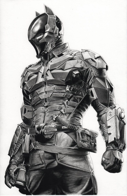 Arkham Knight Pencil Drawing Batman Game Ps3 Xbox Dark Print