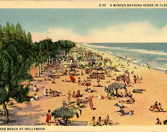 Hollywood Beach Winter Vacation Florida Vintage Postcard 1938