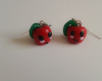 Kawaii Apple Earrings. Cute. Red. Sweet Lolita. Brand New. Handmade.