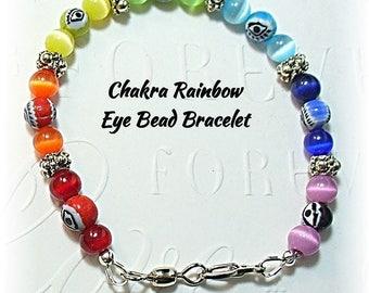 Evil Eye Bracelet, Eye Bead Rainbow Bracelet, 7 Chakra Colors, Rainbow Jewelry - B2017-05