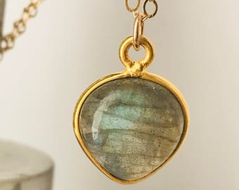Natural Labradorite Necklace Labradorite Necklace 14 K Gold Necklace Gift For Women Dainty Necklace February March Birthstone