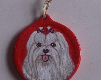 Maltese Dog Custom hand Painted Christmas Ornament Decoration