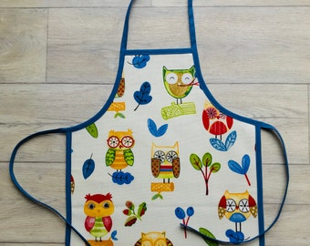 Handmade Denim Owl oilcloth toddler apron, children's apron, kids apron, childrens apron