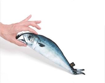 Mackerel Fish Zipper Pouch Weird Pen Pencil Case