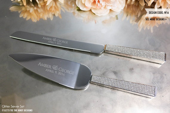 wedding cake knife items similar to personalized glitter wedding cake knife 23004