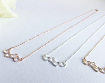 Heart Necklace-silver, GOLD or pink GOLD
