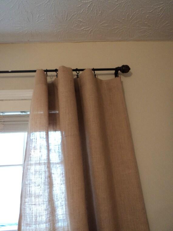84 Pair of Hemmed Burlap Curtain Panels No Odor Burlap