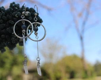 Aura Quartz Earrings-Wire Wrapped Jewelry-Kyanite Earrings-Every day Earrings-Crystal Earrings