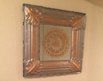 Antique ceiling tile mirror, silver with gold