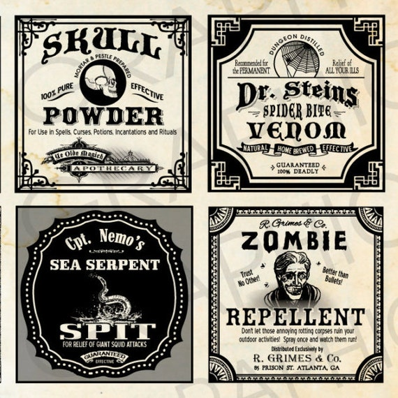 Beautiful Square Halloween Witch Labels Poison Bottle Tags Potion Bottle  RI56